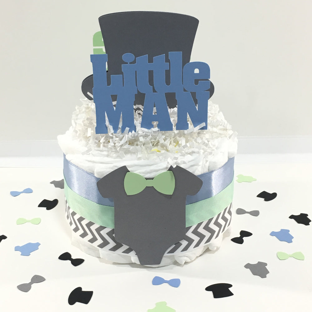 Blue, Mint, & Gray Little Man Diaper Cake