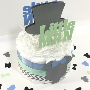 Little Man Diaper Cake Centerpiece - Blue & Mint