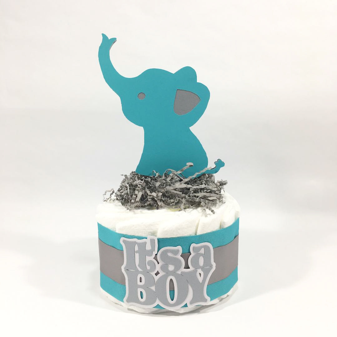 It's a Boy Elephant Small Diape Cake - Teal, Silver
