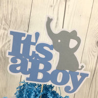 Blue & Gray It's a Boy Elephant Cake Topper