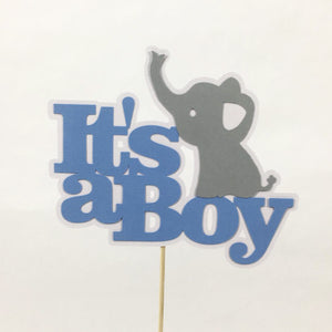 It's A Boy Elephant Cake Topper - Blue, Gray
