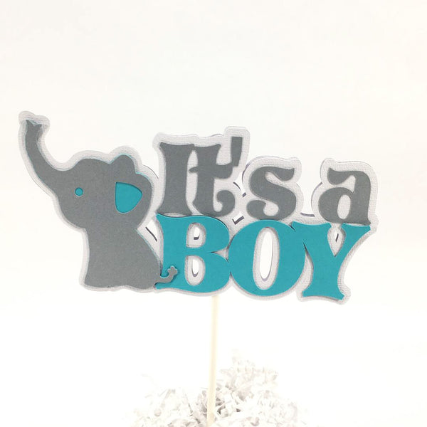 Teal & Gray It's a Boy Elephant Cake Topper