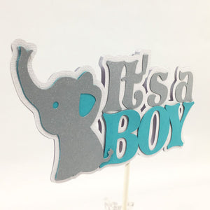 It's a Boy Elephant Centerpiece Sticks - Teal, Silver