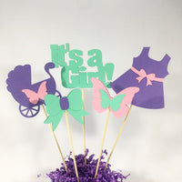 Lavender, Aqua, & Pink It's a Girl Centerpiece Sticks