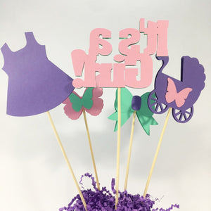 It's a Girl Centerpiece Sticks - Mint, Pink, Lavender