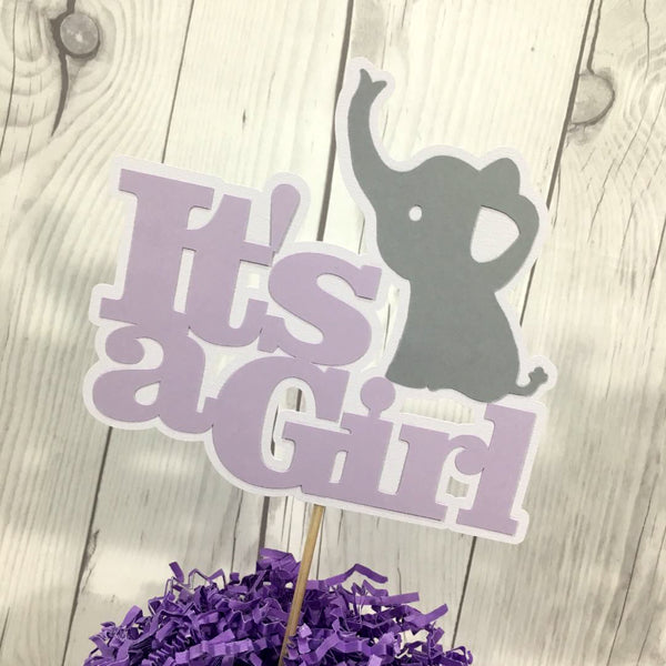 Lilac & Gray It's a Girl Elephant Cake Topper