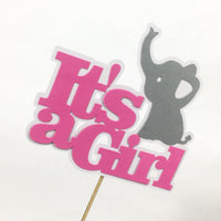 It's A Girl Elephant Cake Topper - Pink, Gray