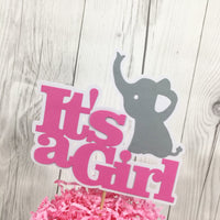 Pink & Gray It's a Girl Elephant Cake Topper