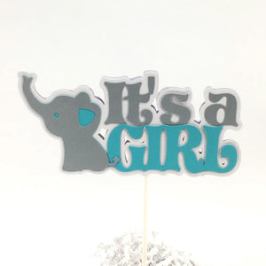 Teal & Gray It's a Girl Elephant Cake Topper
