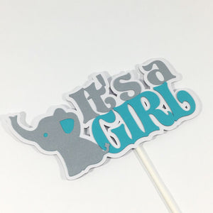 It's a Girl Elephant Centerpiece Sticks - Tealquoise, Silver
