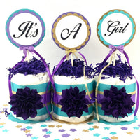Purple, Teal, & Gold It's a Girl Diaper Cake Centerpiece