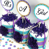 It's A Girl Mini Diaper Cake Centerpiece - Purple, Teal, Gold