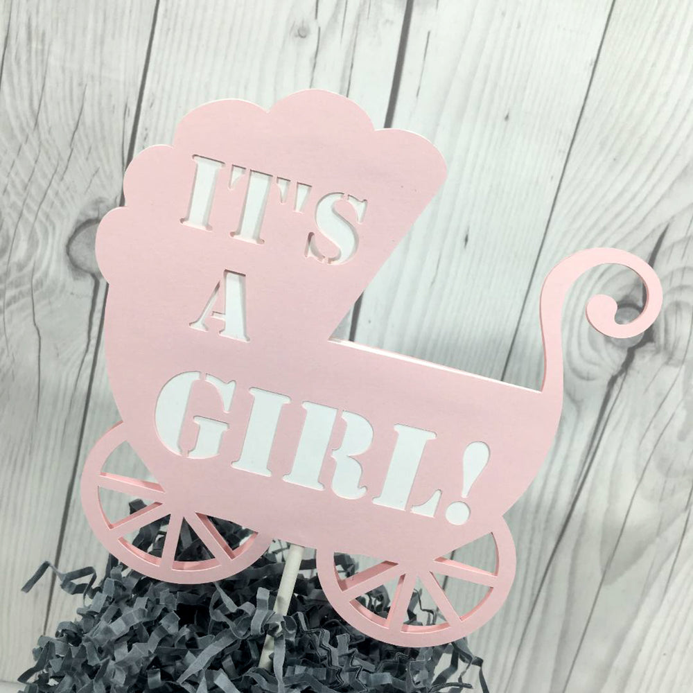 Pink & White It's a Girl Stroller Cake Topper