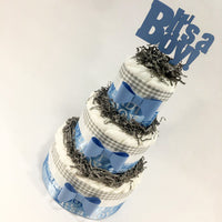 Blue & Gray It's A Boy Diaper Cake