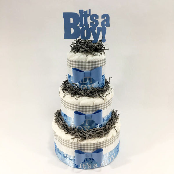 Blue & Gray Boy Baby Shower Diaper Cake Centerpiece