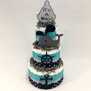 Blue & Teal Nautical Baby Shower Diaper Cake