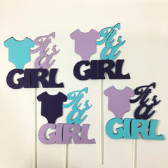It's a Girl Diaper Cake Toppers - Purple & Aqua