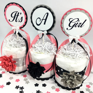 It's A Girl Mini Diaper Cake Centerpiece - Coral, Gray, Black