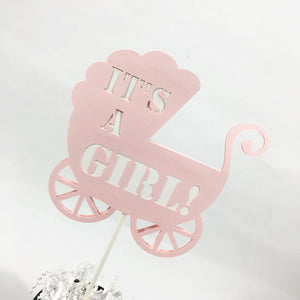 It's A Girl Stroller Cake Topper - Pink, White