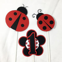 Ladybug Birthday Centerpiece Sticks