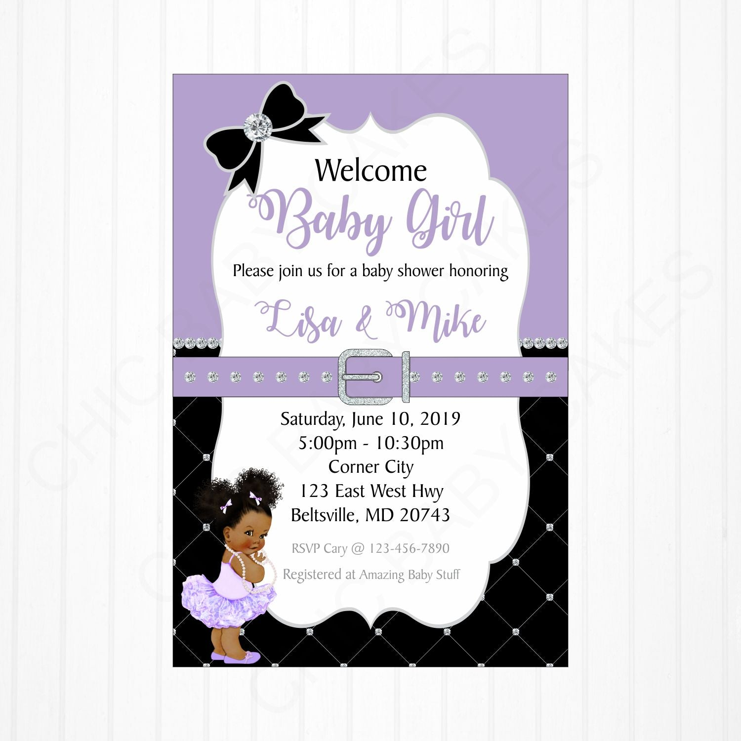 Girl Baby Shower Invitation - Lavender, Black