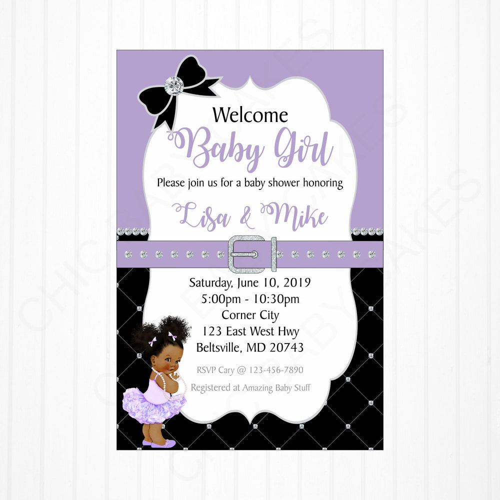Lavender and Black Girl Baby Shower Invitation