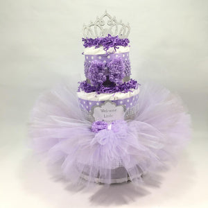 Lavender & Silver Princess Baby Shower Tutu Diaper Cake