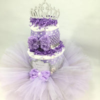 Purple & Silver Tutu Diaper Cake Centerpiece