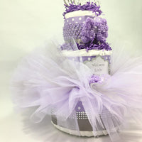 Purple & Silver Tutu Princess Diaper Cake Gift