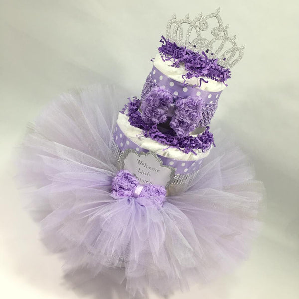Lavender and Silver Little Princess Tutu Diaper Cake