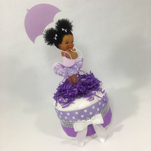 Lavender & Silver Girl Baby Shower Mini Diaper Cake Centerpiecer