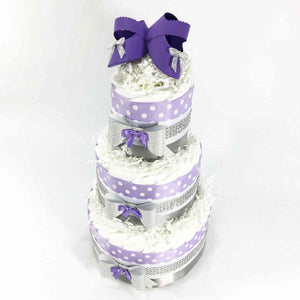 Lavender, Silver, & White Girl Baby Shower Diaper Cake