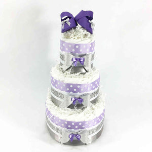 Purple and Silver Girl Diaper Cake Centerpiece