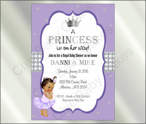Lavender & Silver Princess Baby Shower Invitation, Brown