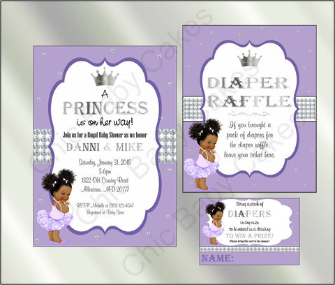 Princess Baby Shower Invite and Diaper Raffle, Lavender & Silver, Afro