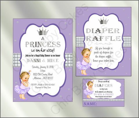 Princess Baby Shower Invite and Diaper Raffle, Lavender & Silver, Blonde