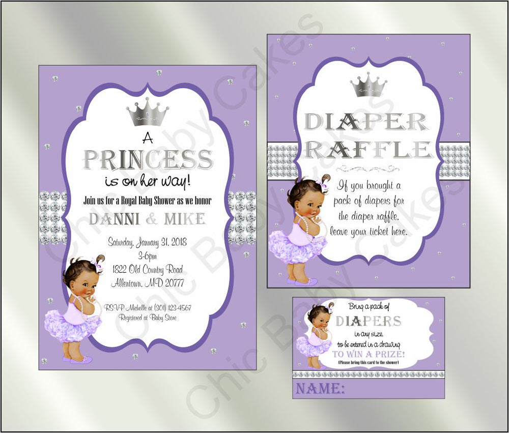 Lavender & Silver Princess Baby Shower Invite Set, Brown