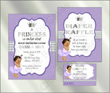 Princess Baby Shower Invite and Diaper Raffle, Lavender & Silver, Brown