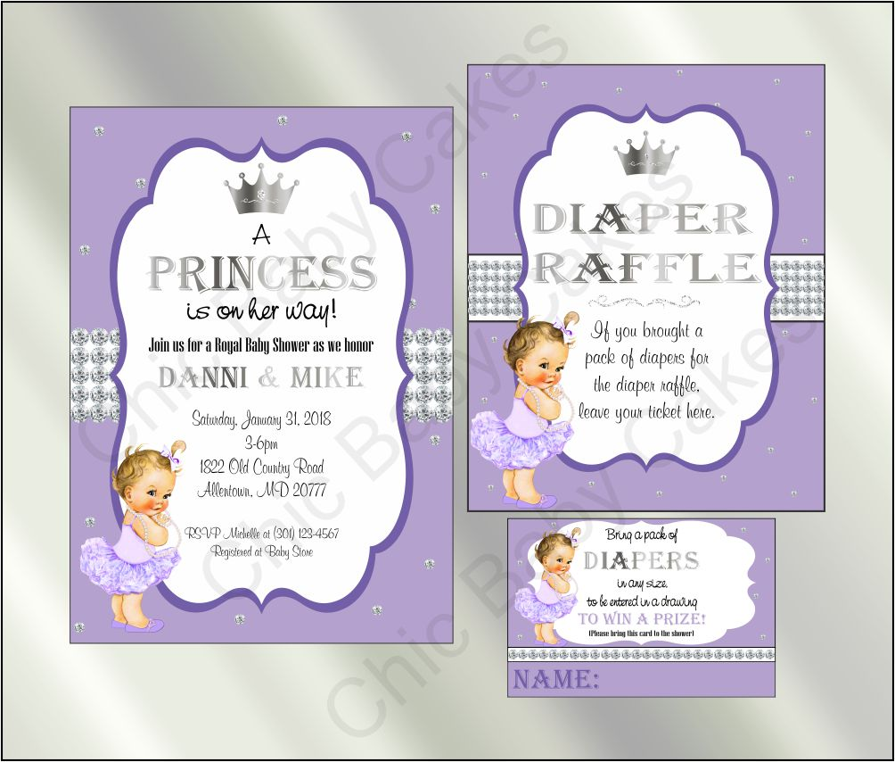 Princess Baby Shower Invite and Diaper Raffle, Lavender & Silver, Brunette