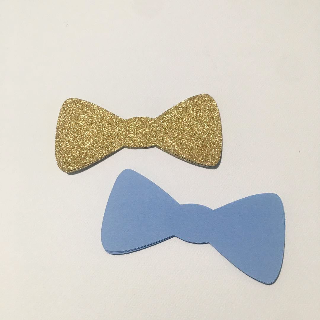 Paper Bow Tie Cutouts - Light Blue, Gold