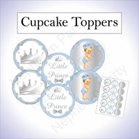 Light Blue & Silver Prince Cupcake Toppers, Blonde
