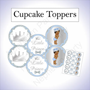 Light Blue & Silver Prince Cupcake Toppers, Curly