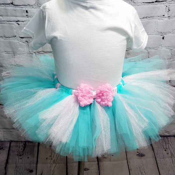 Aqua & Light Pink Tulle Tutu Skirt