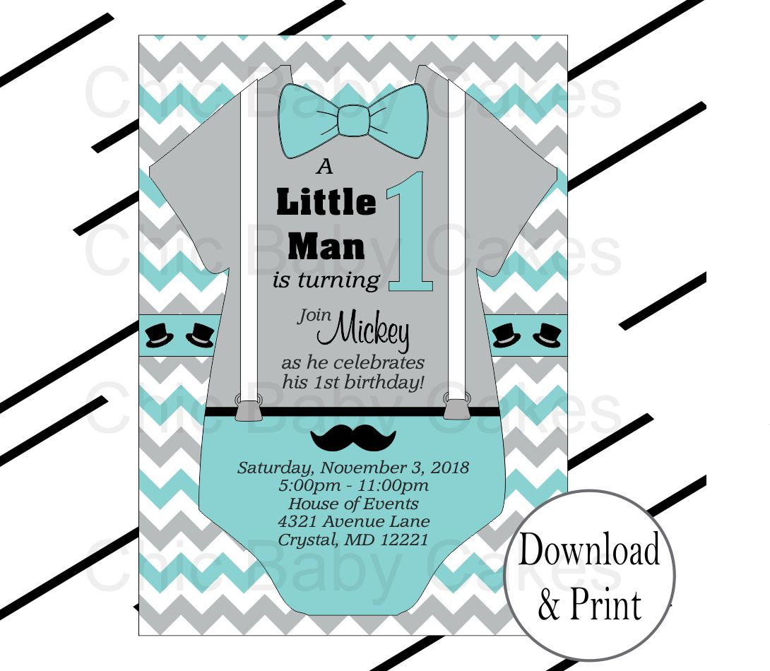 Little Man Invites - Teal, Gray | Chic Baby Cakes