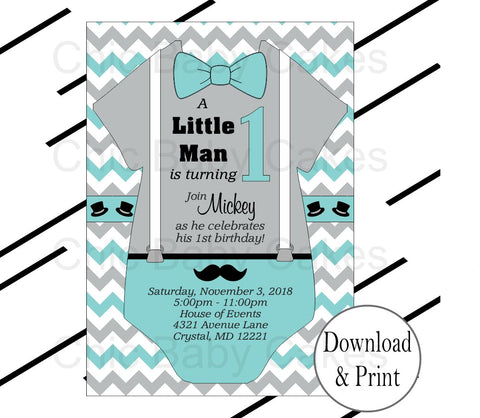 Little Man Invites - Teal, Gray