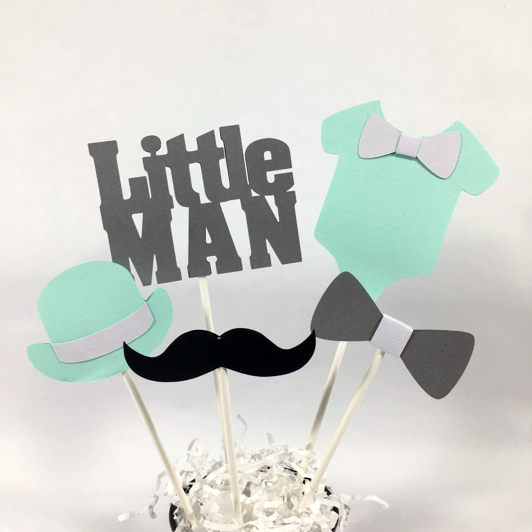 Little Man Centerpiece Sticks - Mint, Gray