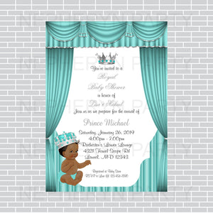Teal & Silver Prince Baby Shower Invite, Black