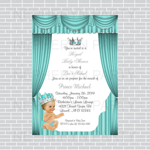 Teal & Silver Prince Baby Shower Invite, Blonde