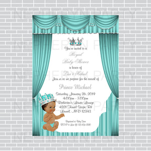 Teal & Silver Prince Baby Shower Invite, Brown