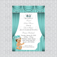 Teal & Silver Prince Baby Shower Invite, Brunette